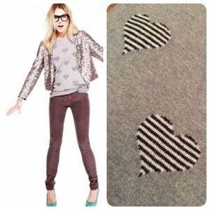 Madewell Wallace Grey Black & White Heart Sweater